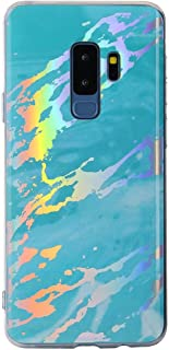 for Samsung Galaxy S7 Case LAPOPNUT Marble Design Case Psychedelic Rave Iridescent Holographic Stone Texture Collection Ultra Slim Flexible TPU Gel Cover Protective Back Bumper Case, Mint Green