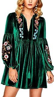 Roiii Women A-Line Velvet Loose Length Sleeve Casual Dresses V Neck Embroidery Party Short Dress Dress