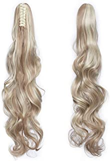 Claw Ponytail Extension Ombre Curly Wave 145G Thick Jaw Ponytails Pony Tail Hairpiece Clip in Hair Extensions Real Natural as Human Synthetic Fibre for Women Long 24 inch sandy blonde & bleach blonde