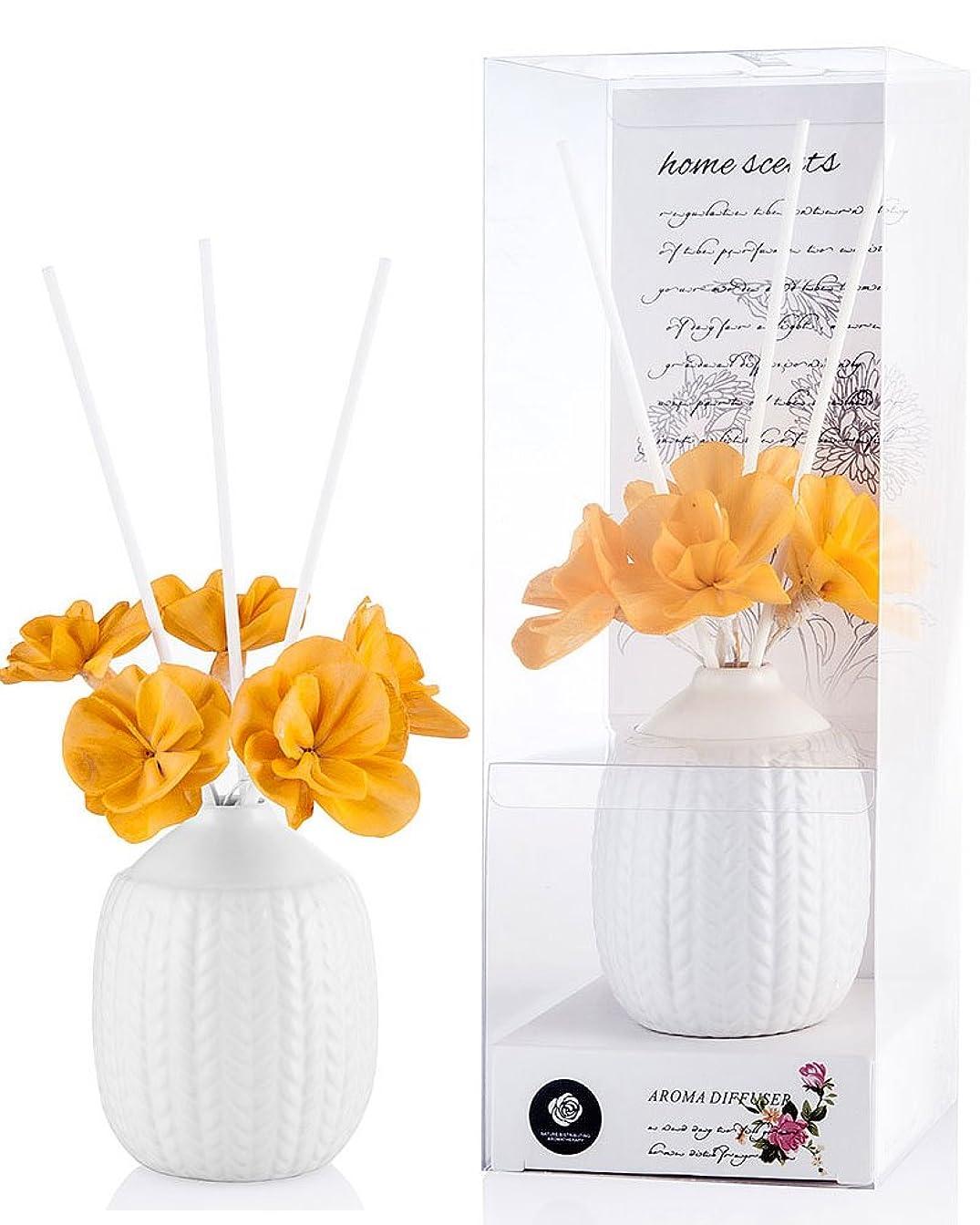 批評舗装鉛筆パステルカラー ルームフレグランス /芳香剤 アロマ スティック リードディフューザー (花:黄色、香り:きんもくせい)