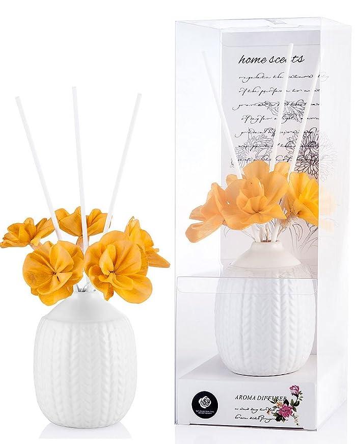 撤回するホイットニー排気パステルカラー ルームフレグランス /芳香剤 アロマ スティック リードディフューザー (花:黄色、香り:レモングラス)