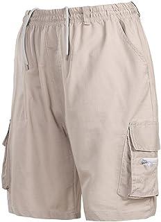 KLJR Men Twill Elastic Cargo Shorts Below Knee Multi-Pocket Shorts Khaki US XL