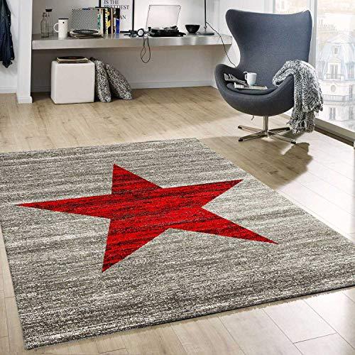 VIMODA Stern Muster Teppich Rot Grau Stylish Accessoire, Maße:160x220 cm
