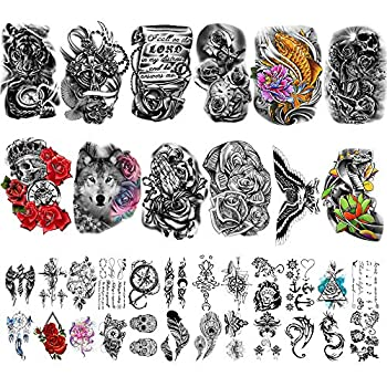 Yazhiji 36 Sheets Temporary Tattoos Stickers Include 12 Sheets Large Stickers Fake Body Arm Chest Shoulder Tattoos for Men and Women