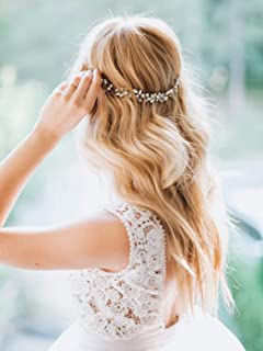 Artio Bride Wedding Hair Vine Accessory Rhinestone Hair Piece Beaded Bridal Headpiece for Bride (Silver)