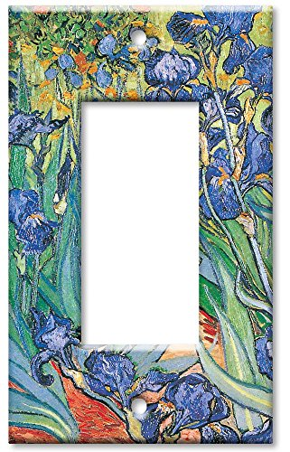 Art Plates - Single Gang Rocker OVERSIZE Switch Plate/OVER SIZE Wall Plate - Van Gogh: Irises