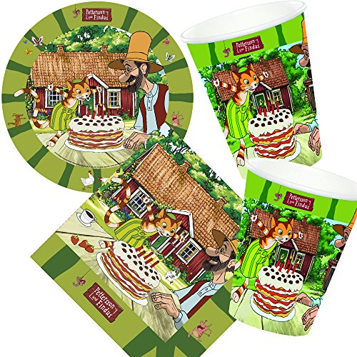 37-teiliges Set * PETTERSSON & FINDUS * mit Pappteller + Servietten + Pappbecher + Deko für Kindergeburtstag // Teller Becher Essen Pappe Geschirr Party Deko Dekoration Einweg Kinder Geburtstag Luftballons Mottoparty Peterson Petersson Katze