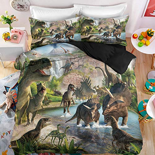 BFKJQ Juego de Cama Funda Nórdica Animal 140x210cm 3D Impresión Dinosaurio Jurásico 2 Piezas Multicolor Juego de Cama Funda Edredón de Microfibra Suave con Cremallera,1 Funda de Almohada 50x70cm