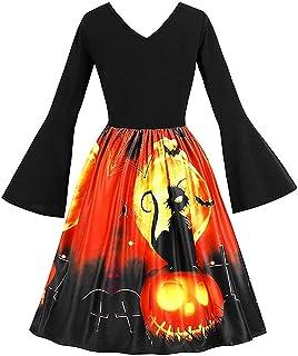 Cucuchy Vintage Dresses Casual Empire Waist Bell Sleeve Halloween Party Dress