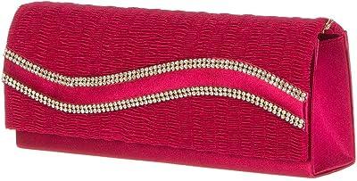 Damen Tasche Handtasche Abendtasche Clutch Strass Glitzer Farben Satin (Rot)