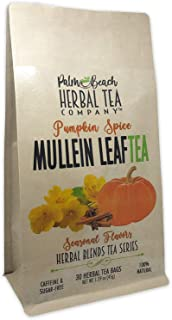 Pumpkin Spice Mullein Leaf Tea - Seasonal Flavors - Herbal Blends Tea Series by Palm Beach Herbal Tea Company (30 Tea Bags...