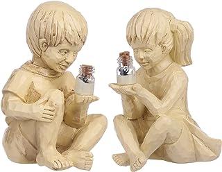 Garden Solar Lighted Firefly Jar Boy Girl Statue Decor, Creative Resin Children Outdoor Sculpture, Decorative Statue for G...