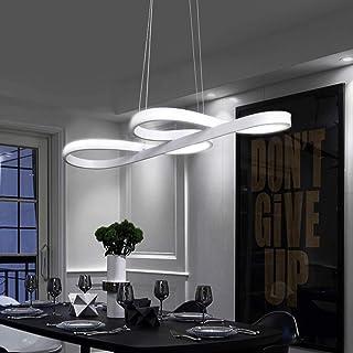 Lámpara Colgante LED, ZMH Luz de Techo Iluminación Pendiente Araña 47W Luz y Altura Adjustable (3500-6500k) con Control Remoto de Silicona y Alumnio para Comedor/Salón/Cafetería/Restaurante (Blanco)