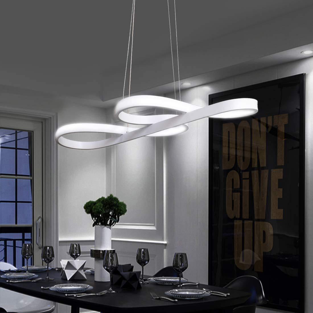 ZMH LED Pendelleuchte esstisch Weiß Hängelampe wohnzimmer 8W Dimmbar mit  Fernbedienung Esstischlampe für Esszimmer Pendellampe Kronleuchte