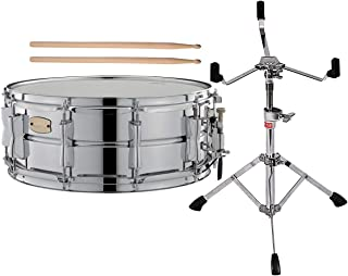 Yamaha Stage Custom Steel Snare Drum SSS-1455 Bundled with FREE Drumsticks and Steel Snare Drum Stand