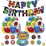 YUIP 38PCS Kit de Decoraciones de Cumpleaños de Superhéroes,Globos de Látex de Superhéroes Pancarta de Fiesta de Superhéroes, Suministros de Fiesta Temáticos de Superhéroes