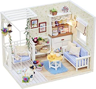 CUTEBEE Dollhouse Miniature with Furniture, DIY Wooden Dollhouse Kit Plus Dust Proof and Music Movement, 1:24 Scale Creative Room for Valentine's Day Gift Idea. Happy Times