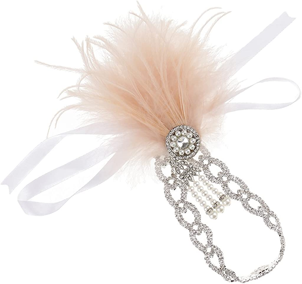 Bonarty Vintage Crystal Pearls Feather Headband 1920s Great Flapper Headpiece