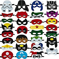 Image: Totteri 30pcs Superhero Masks for Kids Birthday Costumes, Felt Mask Party Favor Cosplay Toy for Boys and Girls