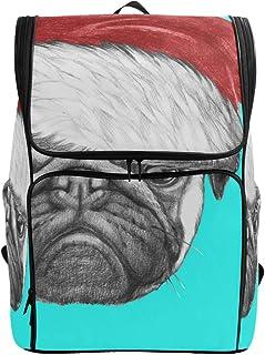DEZIRO mochila de viaje para perro retrato de perro carlino con gorro de Papá Noel, mochila grande para la escuela, mochila multifuncional para mujeres y hombres 19 x 14 x 7 pulgadas