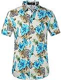 SSLR Camisa de Manga Corta con Estampado de Flores Estilo Hawaiano Moderno de Hombre (Medium, Azul Jamaica)