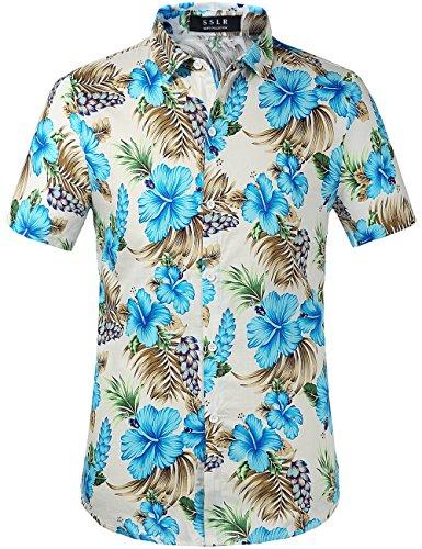 SSLR Camisa de Manga Corta con Estampado de Flores Estilo Ha
