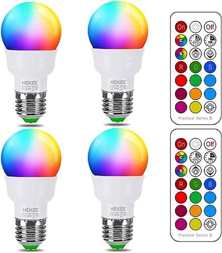 RGB LED Light Bulb, Color Changing Light Bulb, 40W Equivalent, 450LM, 2700K Warm White 5W E26 Screw Base RGBW, Flood ...