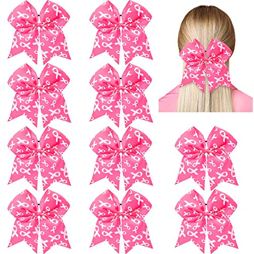 10 Pieces 7 Inch Breast Cancer Awareness Large Cheer Hair Bows Ponytail Holder Elastic Cheerleader Bow Holder Pink Ribbon Hair Band For Breast Cancer Month