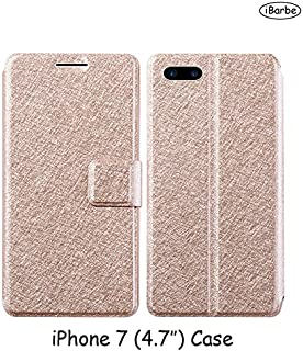 iPhone 7 Flip Cases iBarbe Flexible Protect Case Anti-Scratch Protective Wallet Case with One Card Slot Cash Clip Magnetic Closure With Free Screen Protector [Not Glass] For Apple iPhone 7 (4.7)-Gold