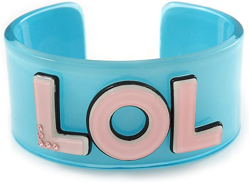 Light Blue/Pale Pink 'LOL' Acrylic Cuff Bracelet Bangle (Adult Size) - 19cm