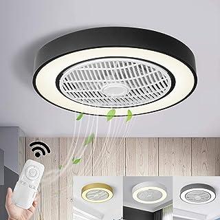 GHY Ventilador De Techo con Iluminación LED Ventilador De Techo Lámpara Redonda Lámparas Regulables Distancia Dormitorio Sala Comedor Negro Lámpara De La Cocina Interior para Niños