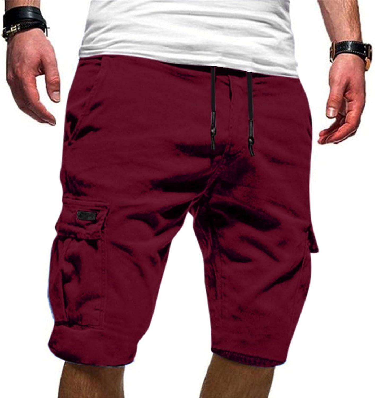 Fashion Mens Cargo Shorts Elastic Waist Work Joggers Shorts Summer Casual Shorts