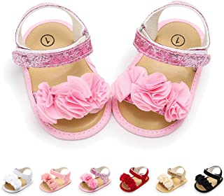 ENERCAKE Infant Baby Girls Summer Sandals Flower Soft Sole Toddler Newborn Crib First Walker Dress Shoes
