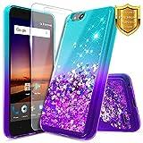ZTE Glitter Liquid Quicksand Case Compatible ZTE Blade Vantage/Fanfare 3 /Avid 4 /Tempo X/AVID (557)/ZFive G/ZFive C LTE (Z557BL,Z558VL)/Tempo GO w/[Tempered Glass Screen Protector]-Aqua/Purple