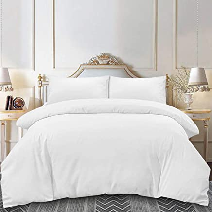 HOMEIDEAS 3 Piece Duvet Cover Set (Queen, White),  Luxury 100% Super Soft Brushed Microfiber Hypoallergenic Wrinkle & Fade Resistant