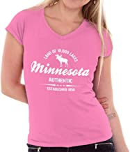 Classic Teaze Minnesota Land of 1000 Lakes Athletic MN Junior Fit V-Neck T Shirt