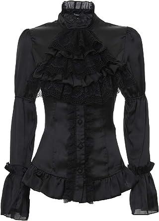 Darkinlove Camisa Blusa Negra satén Encaje buche romántico ...