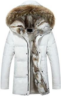 Men's Fur Collar Hooded Warm Fleece Lined Down Jackets and Coats