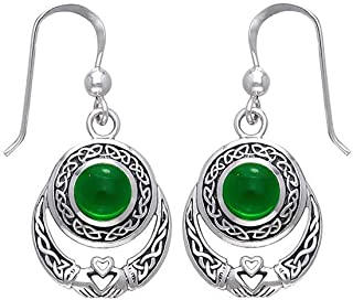 Celtic Knot Vintage Claddagh Dangle Drop Earrings Sterling Silver Plated Good Luck Irish Fashion Jewelry for Women Girls