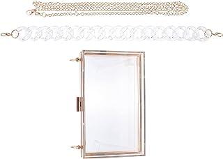 Amosfun Transparent Quadrat Handtasche Sommer Acryl Schulter Tasche Mode Kette Tasche