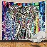 N / A Colorido Elefante Indio Mandala Tapiz Colgante de Pared Bohemio Gitano psicodélico psicodélico Tapiz brujería Tapiz decoración del hogar Tapiz Tela de Fondo A2 150x150cm