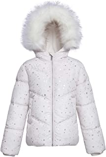 Rokka&Rolla Girls' Water-Resistant Hooded Heavy Padded Coat Thickened Quilted Lined Parka Anorak Puffer Jacket