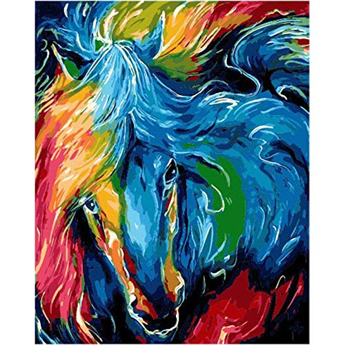 Verf door cijfers voor volwassenen Kleur Paard Hoofd Kit DIY Olieverfschilderij Tekenen Canvas met Borstels Decoraties Geschenken - Frameless 16 * 20 Inch