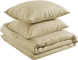 AmazonBasics Lightweight Percale Cotton Duvet Comforter Cover Set, Full / Queen, Taupe