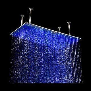 """Cascada シーリングマウント レインフォール LED シャワーヘッド シャワーアーム付き 24""""x48"""" ゴールド"""