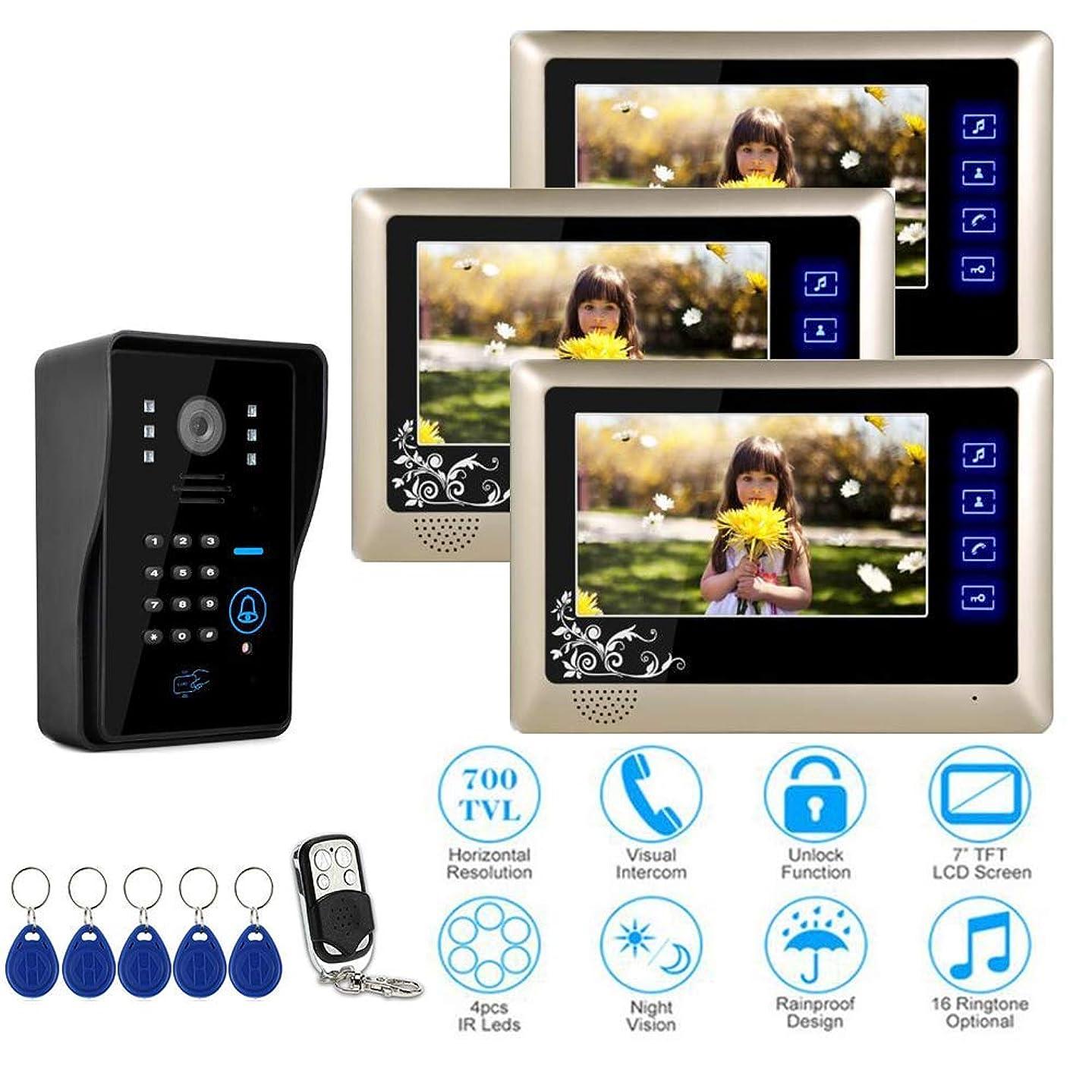 JINPENGPEN 7-Inch Smart Video Doorbell Remote Intercom Access Control System HD Infrared Camera,1/3