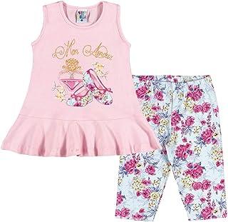 Conjunto Rosa Bebê Primeiros Passos Menina Cotton 36225-719
