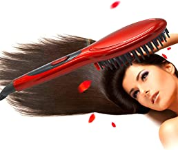 AM RONG MAGIC STRAIGHT UP Ceramic Straightening Brush,Anti-scald Comb Tooth Ionic Hair Straightener,Styling Tools,(red)