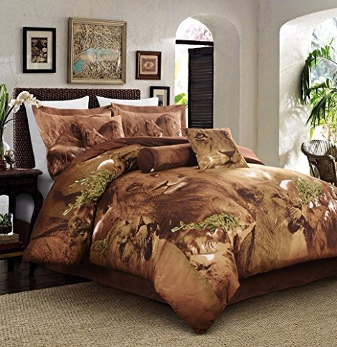 FULL Size Bed 5 Piece DUVET Set, Jungle Collection Lion Animal Print Bed Cover Set By Cozy Beddings