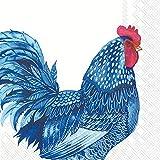 IHR – L 906000 – Tovaglioli di carta, 20 pezzi, Pollo, Blue Plumage, 16,5 cm x 16,5 cm, 3 veli